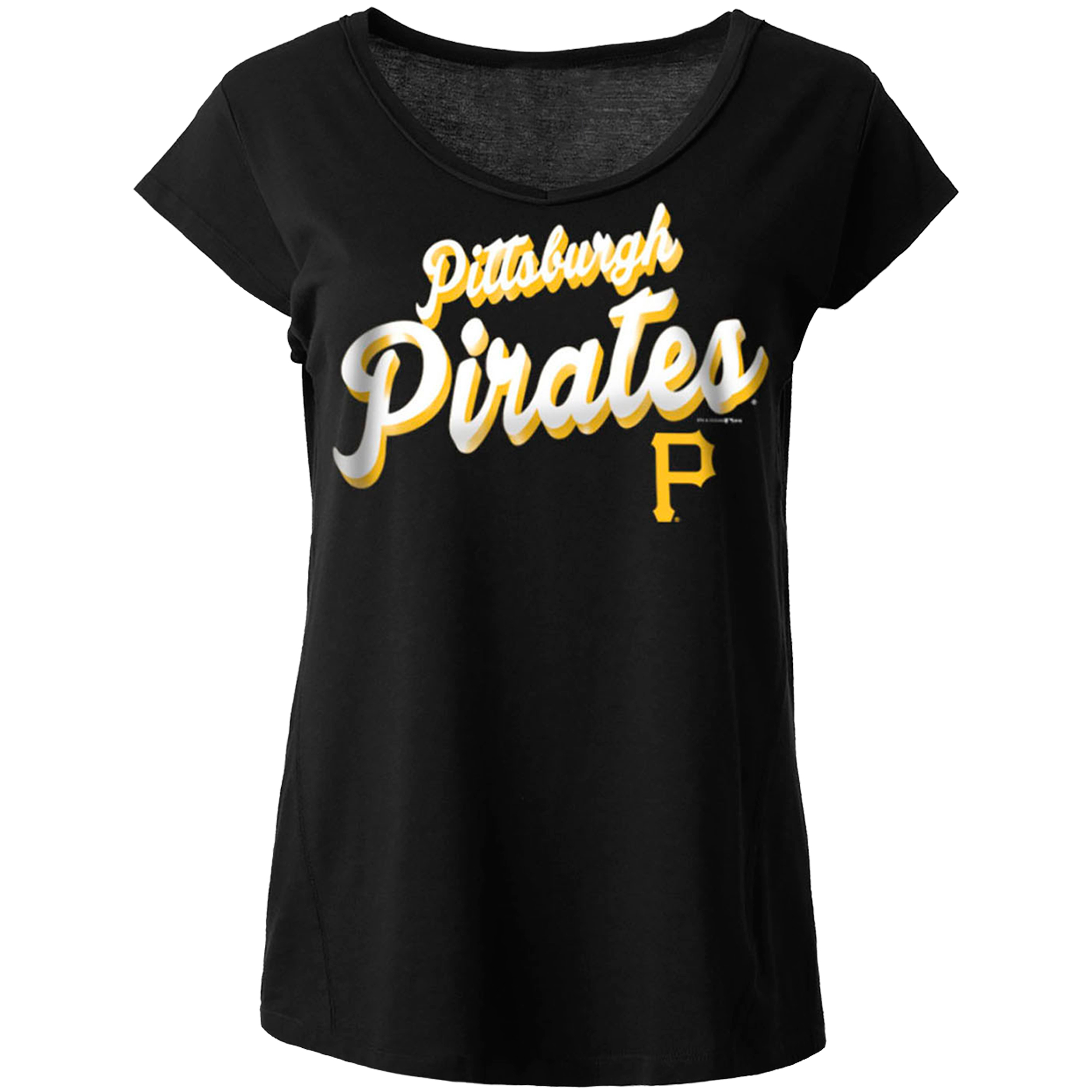 Pittsburgh Pirates 5th & Ocean by New Era Women's Novelty Modal Jersey V-Neck T-Shirt - Black