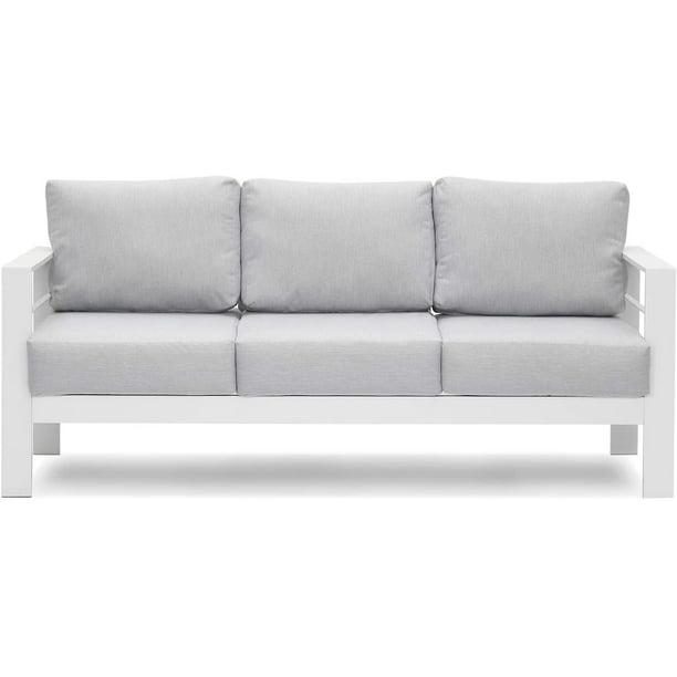 Patio Furniture Aluminum Sofa All, Black Metal Patio Sofa