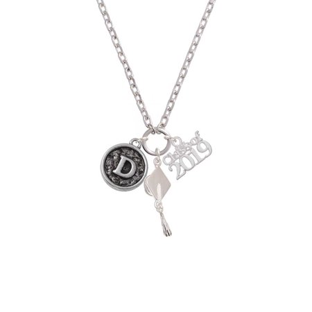 Silvertone Antiqued Round Seal - Initial - D - Class of 2019 Graduation Zoe Necklace College Seal Jewelry Pendant