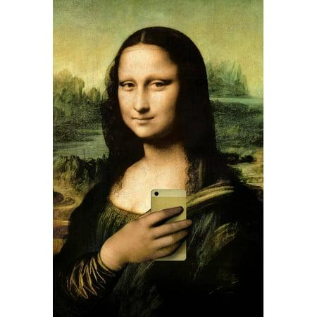 Mona Lisa Selfie Portrait Print Wall - Mona Lisa Framed