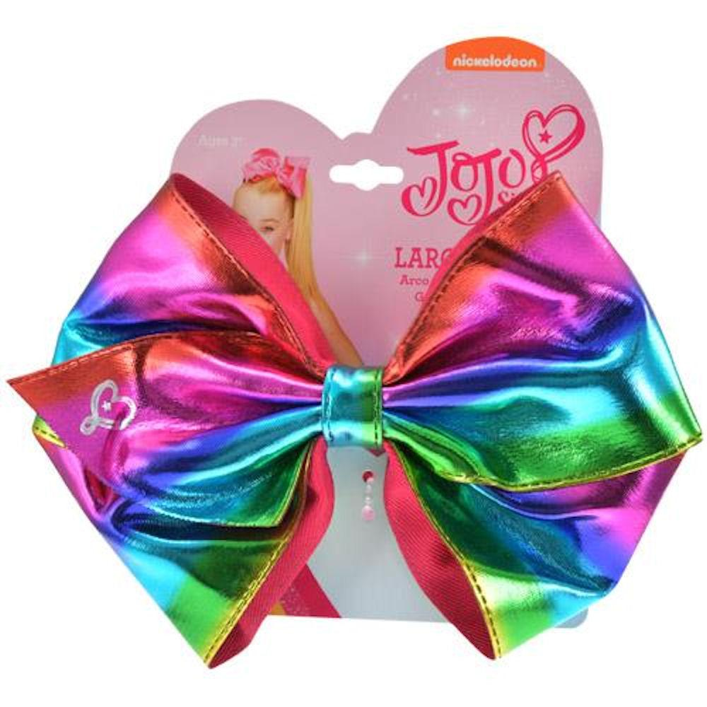 Jojo Siwa (6.5 X 5) Rainbow Metallic Ponytail Bow On Elastic Hair Band