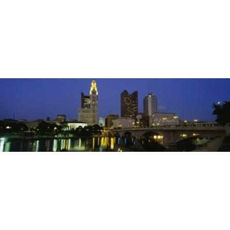 Buildings lit up at night Columbus Scioto River Ohio USA Poster Print - Halloween Usa Columbus Ohio