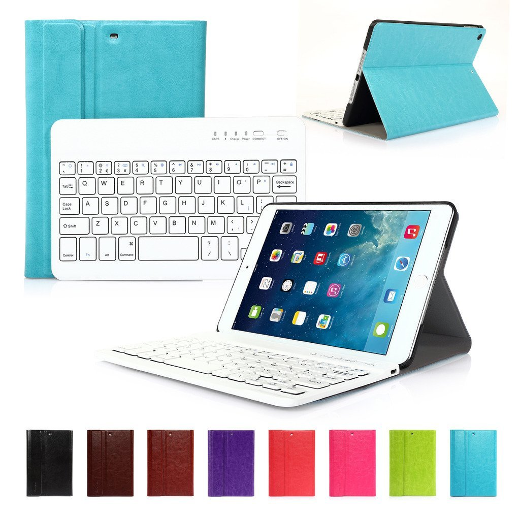 CoastaCloud iPad Mini 1 / iPad Mini 2 Slim Cover Ultra Thin Smart Case Bag with Bluetooth Wireless UK Layout Keyboard For School/Office/Meeting