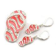 Pink Zebra Flip Flop Slippers Dual Function Brooch & Pendant with Popcorn Chain & Earrings