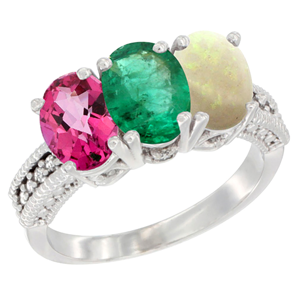 10K White Gold Natural Pink Topaz, Emerald & Opal Ring 3-Stone Oval 7x5 mm Diamond Accent, sizes 5 10 by WorldJewels