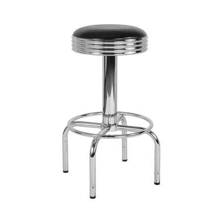Offex Traditional Retro Diner Swivel Barstool with Chrome Base in Black Vinyl