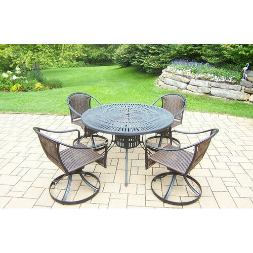 5-Pc Outdoor Round Dining Table Set