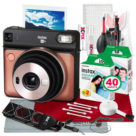 Fujifilm instax Square SQ6 Instant Film Camera (Blush Gold) with 30 Sheet Square Instant Film and Deluxe Bundle