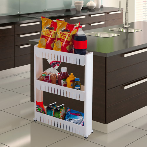 "Three-Tier Slim Slide Out Pantry on Rollers, 5"" Wide"