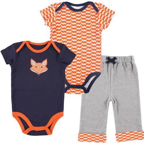 Yoga Sprout Newborn Baby Boys 2 Bodysuits & Pant - Fox