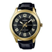 MTP-VX01GL-1B Men's Gold Tone Leather Band Big Case Black Dial Watch