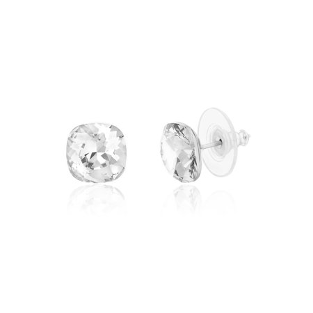 Lesa Michele Women's Faceted Crystal Cushion Shaped 10MM Stud Earrings in Stainless Steel Made With Swarovski Crystals (Color: Crystal)