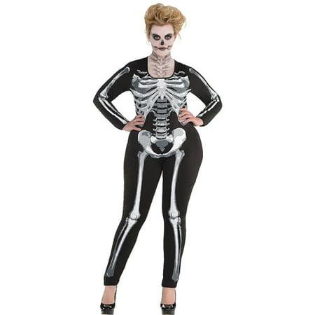Halloween 'Black and Bone' Skeleton Adult Plus Catsuit (1ct)