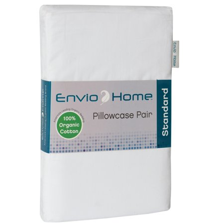 EnvioHome GOTS Certified Organic Cotton Pillowcase Pair - White, - Organic Standard Pillowcase