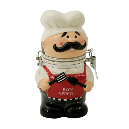 Hand-Painted Earthenware Chef Hinged Jar by, Hand-Painted Earthenware Hinged Jar by Boston Warehouse is a perfect container for storing cookies, coffee, tea, cocoa,.., By Boston Warehouse (Fat Chef Kitchen Cookie Jar)