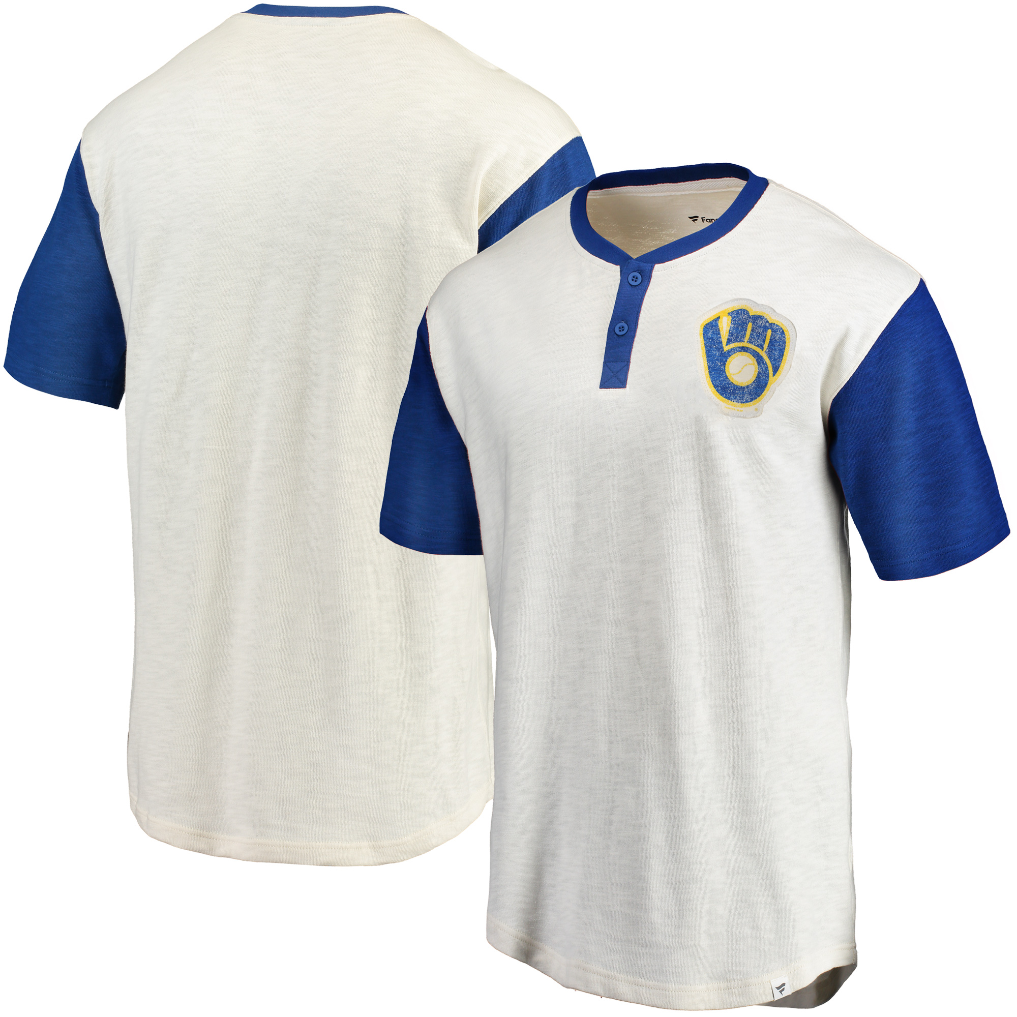 Milwaukee Brewers Fanatics Branded True Classics Henley T-Shirt - Cream/Royal
