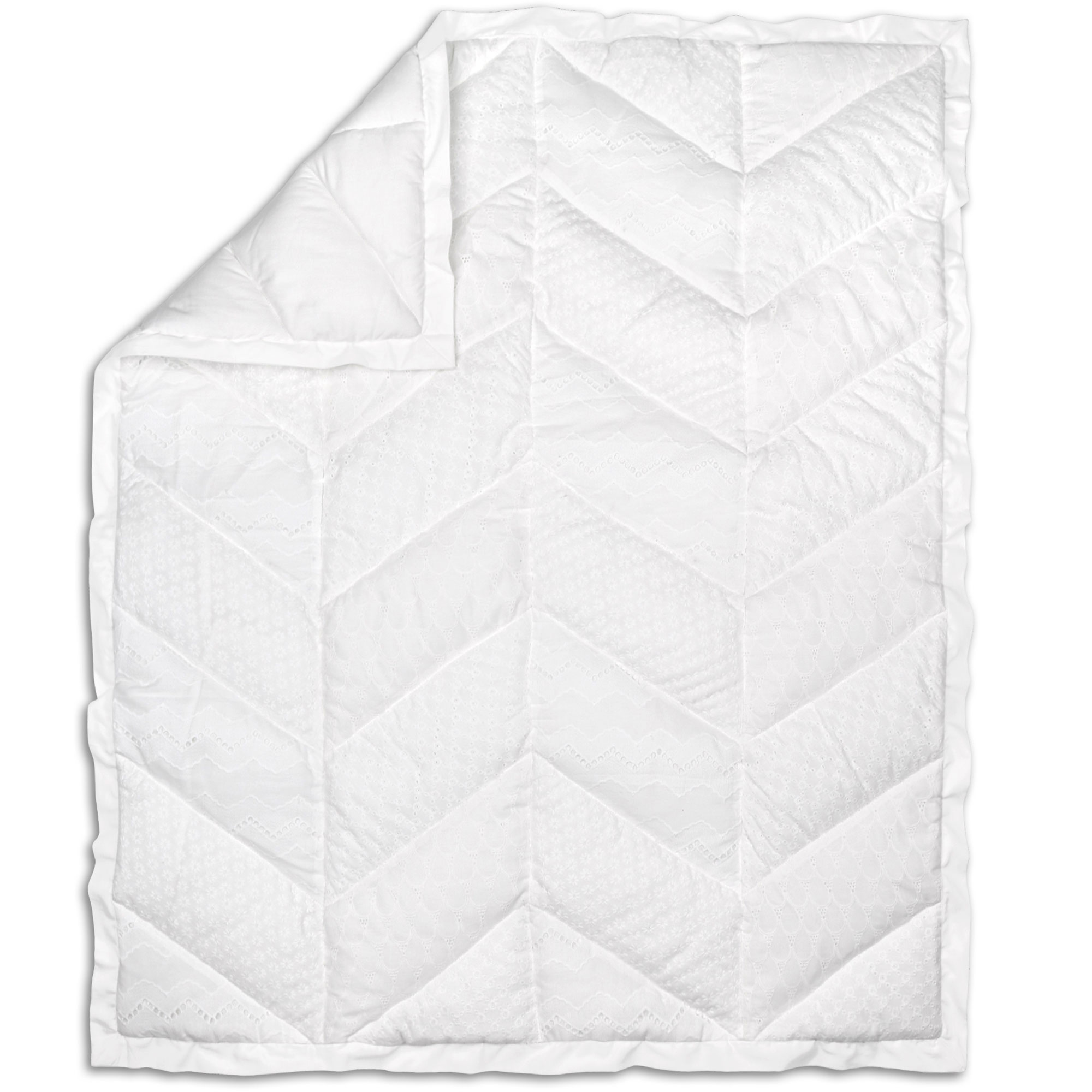 Taylor White Eyelet Baby Girl Crib Quilt by The Peanut Shell by The Peanut Shell