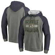 Nashville Predators Fanatics Branded Timeless Collection Antique Stack Tri-Blend Raglan Pullover Hoodie - Ash