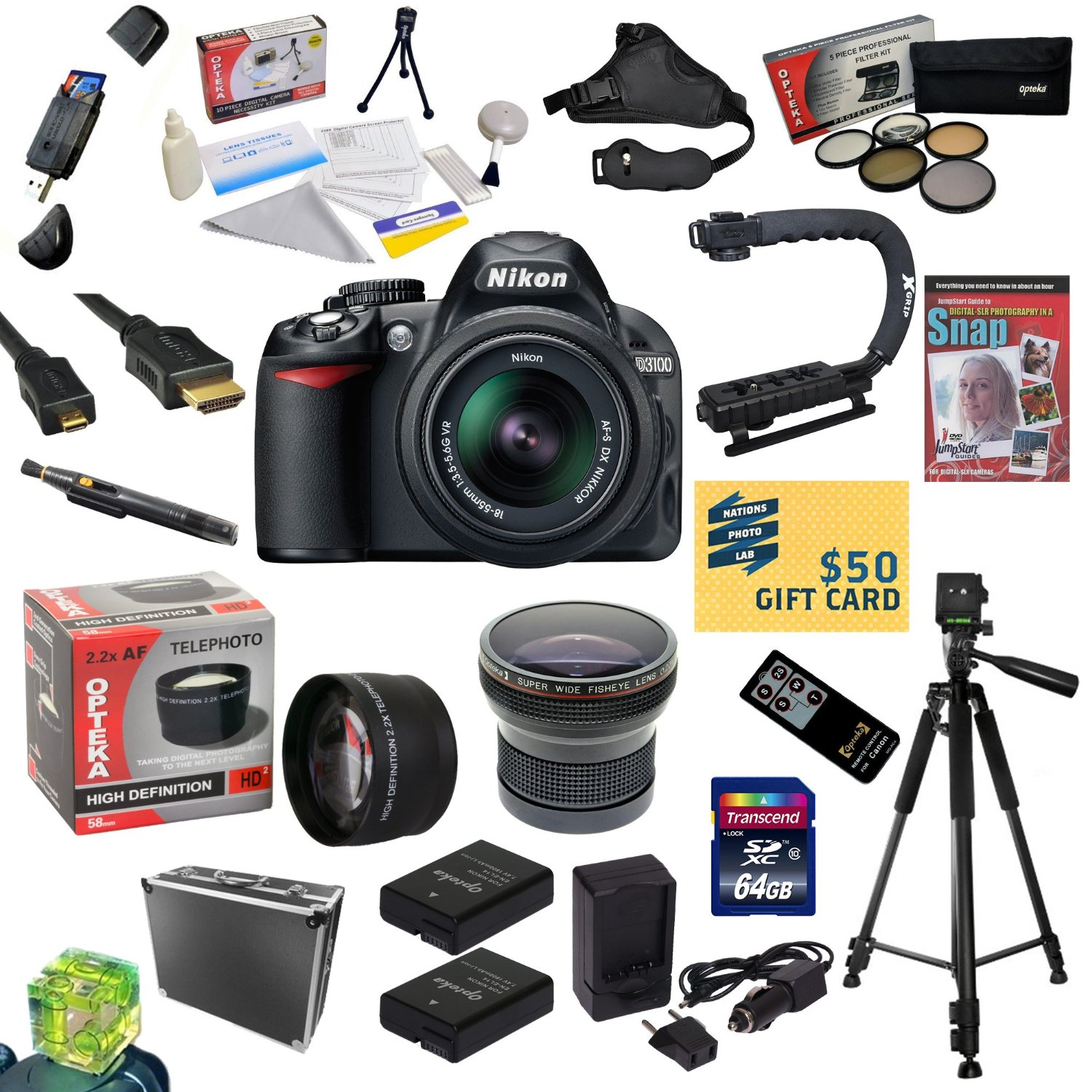 Nikon D3100 Digital SLR Camera with 18-55mm NIKKOR VR Lens With 64GB Memory Card, Reader, 2 EN-EL14, Charger, 0.20x + 2.2x Lens, 5 PC Filter Kit, Pro Case, Remote, Tripod, X-GRIP, DVD, $50 Gift Card