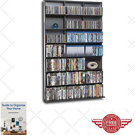 Bookcase Storage Cabinet Black Grey Large Store CD , DVD Collection , Furniture , Modern Rack , Bookcase W/ Shalves & eBook by Easy2Find ()