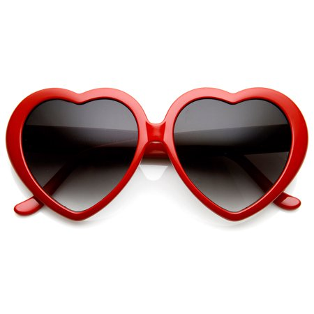 zeroUV - Large Oversized Womens Heart Shaped Sunglasses Cute Love Fashion Eyewear - (Love Heart Shaped Sunglasses)