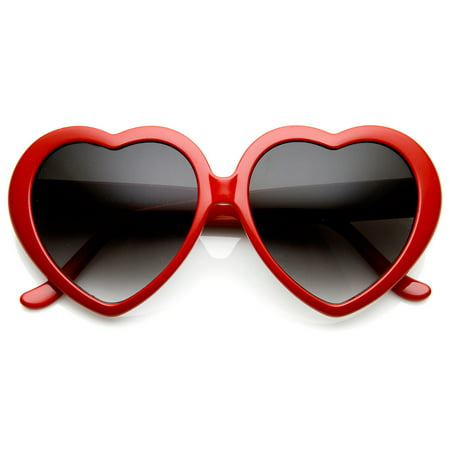zeroUV - Large Oversized Womens Heart Shaped Sunglasses Cute Love Fashion Eyewear - 52mm Super cute and super fun, these are sure to win over hearts on all your sunny days!Available in a variety of fun colors to match all your outfitsMade with:plastic based frameMetal hingesGradient polycarbonate UV protected lenses