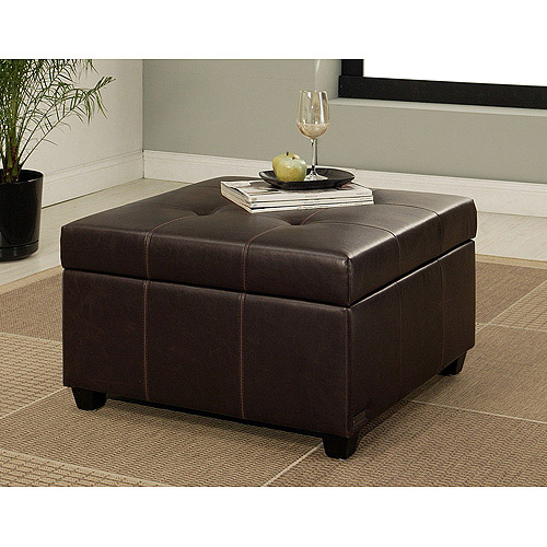 Merveilleux Abbyson Living Mason Faux Leather Storage Ottoman, Dark Brown