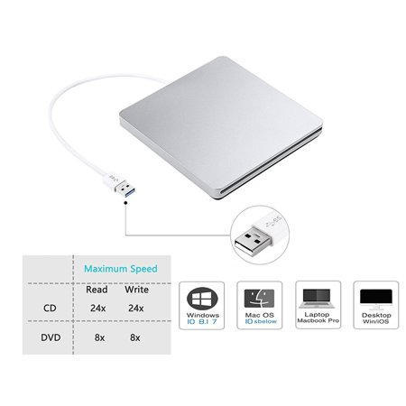 Cd Rom Cleaner - USB Slim Slot in External 8x DVDRW DVD CD RW ROM Burner Writer Drive for Apple Mac PC Box Laptop Desktop Portable Enclosure Housing Caddy Case