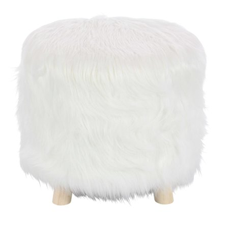 Enchanting White Finish Wood Faux Fur Foot Stool