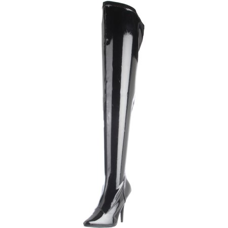 Womens Sexy Black Thigh High Boots Stretch Patent Pointed Toe 5 Inch Heels