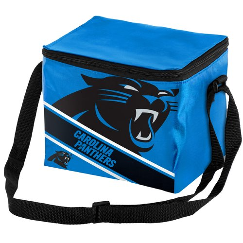 NFL Forever Collectibles Big Logo Stripe 6 Pack Cooler, Carolina Panthers