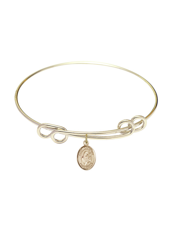 Bonyak Jewelry Round Double Loop Bangle Bracelet w//Fish//Cross in Gold-Filled