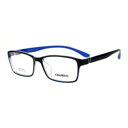 Valentino Optical Frames - Classic 54mm Narrow Rectangular TR90 Plastic Optical Eyeglasses Frame Black Blue