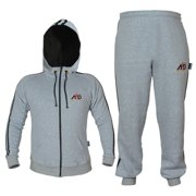 ARD CHAMPS™ Fleece Tracksuit Hoodie Trouser MMA Gym Boxing Running Jogging Suit Color Grey, Size Small