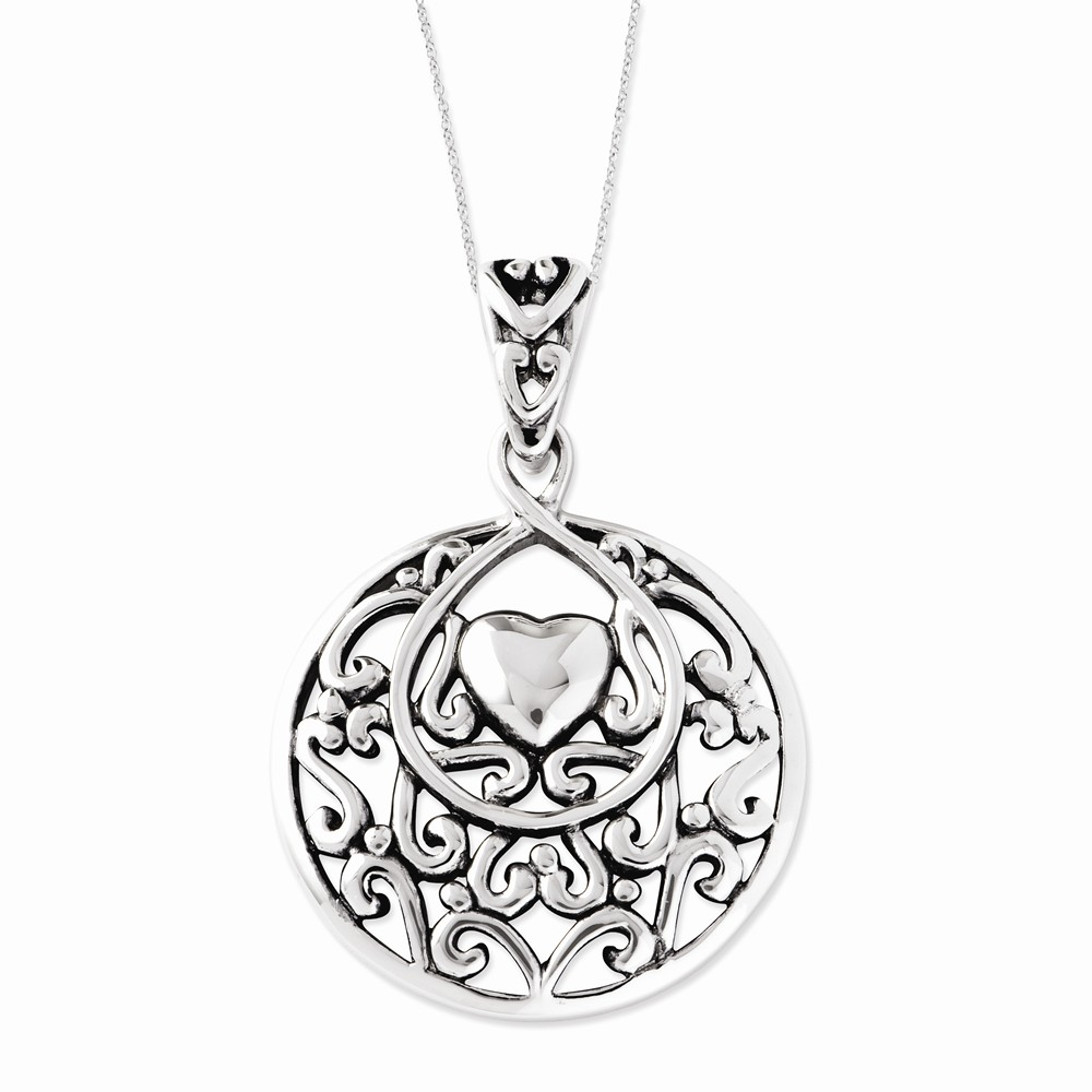 Sterling Silver Antiqued I Choose You Pendant 18in Heart Necklace.