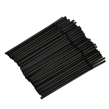 100Pcs Transparent Black Long Flexible Drinking Straws Wedding Party - Black Straws