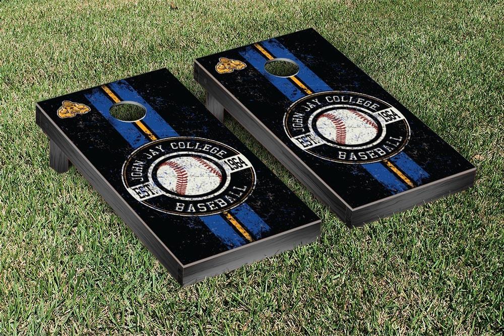 John Jay Bloodhounds Regulation Cornhole Game Set Baseball Vintage Version by Victory Tailgate