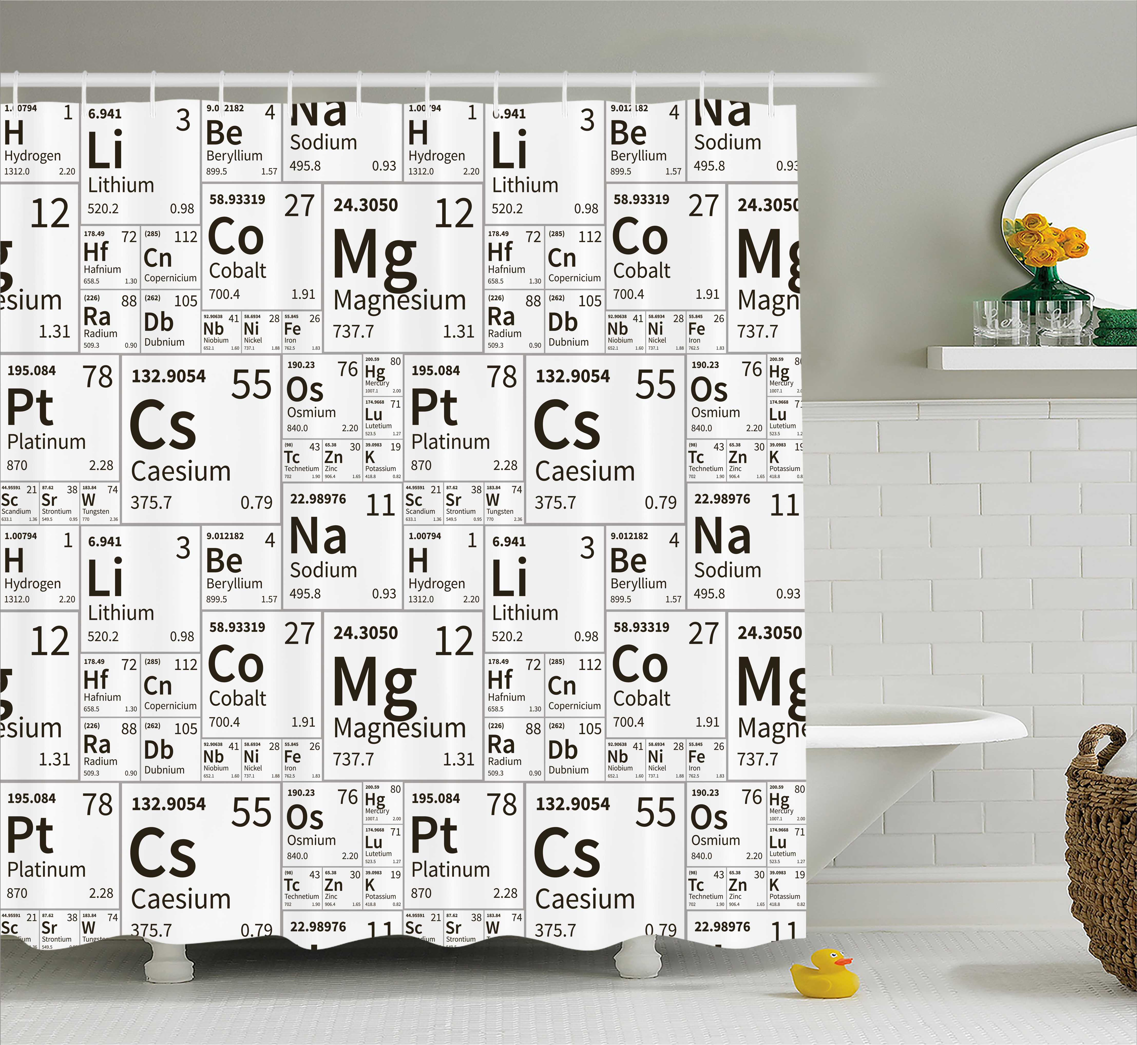 Periodic table shower curtain school life smart kids inspired periodic table shower curtain school life smart kids inspired chemisty elements in squares print fabric bathroom set with hooks 69w x 70l inches gamestrikefo Image collections