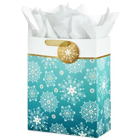 Hallmark Extra Large Holiday Gift Bag with Tissue Paper (Snowflakes) - Large Paper Bags