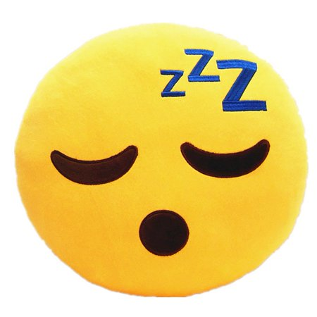 - 32cm Emoji Smiley Emoticon Yellow Round Cushion Pillow Stuffed Plush Soft Toy (Sleepling) KT00102