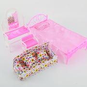 AUST 8 Items Princess Furniture Accessories Kids Gift 5x Barbie Doll Hangers + 1x Dresser Set + 1x Bed Set + 1x Sofa Set