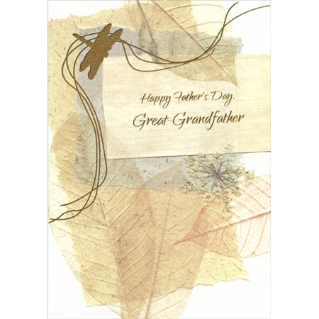 Designer Greetings Gold Foil Dragonfly and Embossed Leaves Father's Day Card for Great-Grandfather ()
