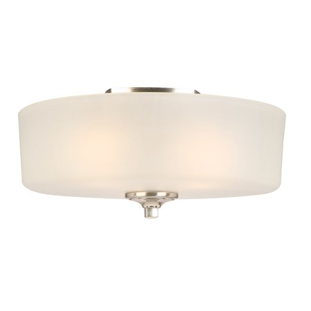 Design House 578377 Perth 3-Light Flush Mount Ceiling Light, Satin Nickel