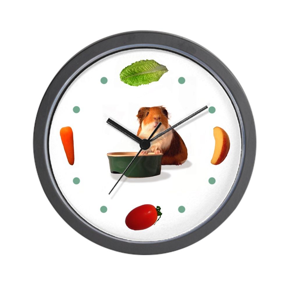 "CafePress Veggie Time' Guinea Pig Clock Unique Decorative 10"" Wall Clock by"