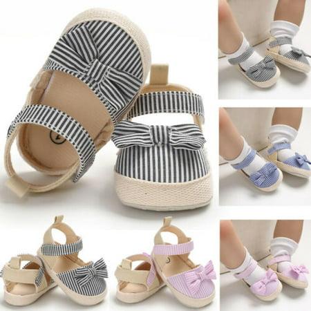 Summer Baby Girl Bowknot Sandals Anti-Slip Crib Shoes Soft Sole Prewalkers USA Pre Walker Sandals