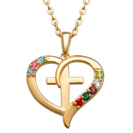 Personalized Sterling Silver or Gold over Sterling Family Heart and Cross Birthstone Pendant (Personalized Crosses)
