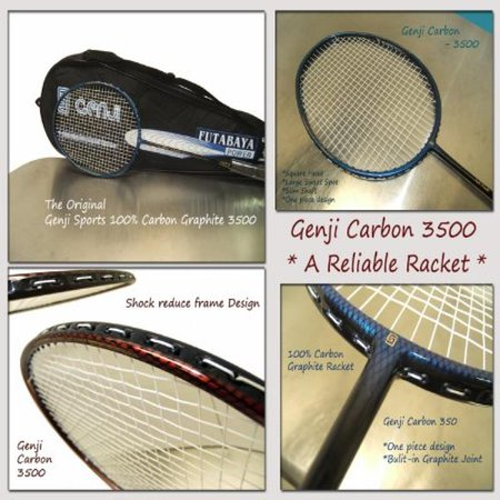 Genji Sports Carbon Graphite 3500 Badminton Racket  Blue Color