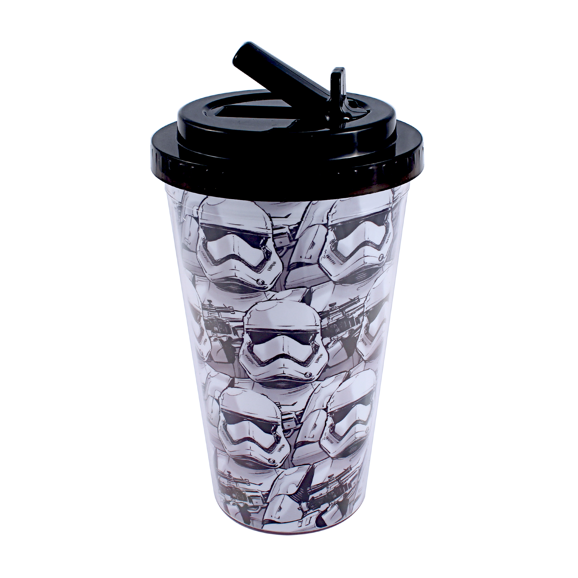 Star Wars Ep7 Allover Trooper Faces 16oz Plastic Flip Straw Cold Cup