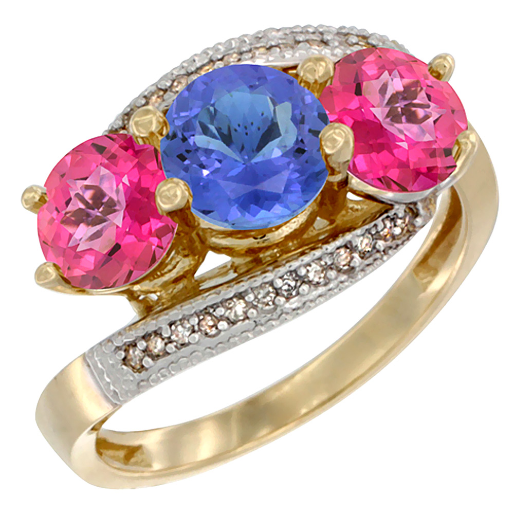 14K Yellow Gold Natural Tanzanite & Pink Topaz Sides 3 stone Ring Round 6mm Diamond Accent, size 5 by Gabriella Gold