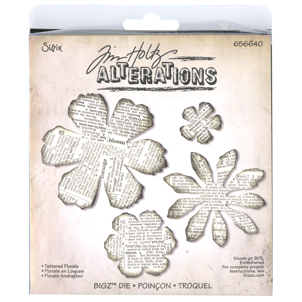 "Sizzix Bigz Die By Tim Holtz 5.5""X6""-Tattered Florals"